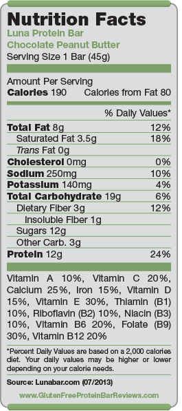Luna Protein Bar Nutrition Facts