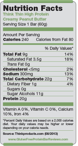 Think Thin Bar High Protein Nutrition Facts