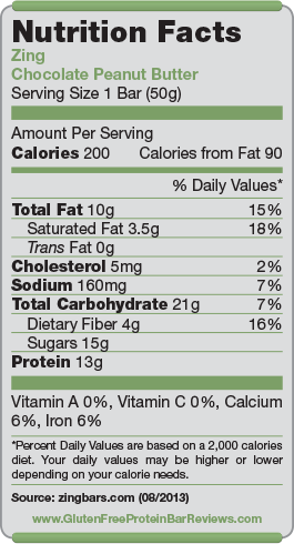 Zing Bar Nutrition Facts